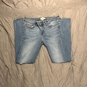 Distressed women's jeans
